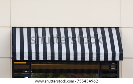 fos striped white awning and awnings black