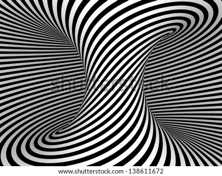 Black and White Stripes Projection on 3D Torus. - stock photo
