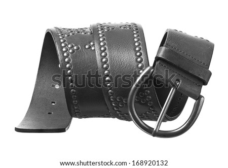 Black and white studded leather belt with buckle isolated on white background. - stock photo