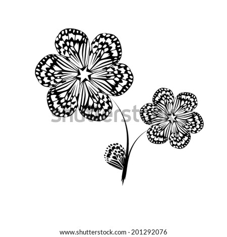 Black and white stylized flower. Raster - stock photo