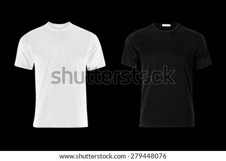 Black and White T-Shirt on Black Background - stock photo