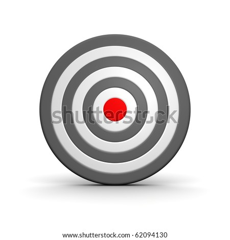 Black and white target with red center. 3d rendered illustration.
