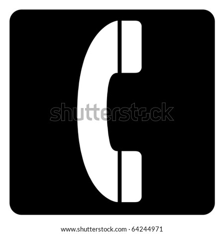 Black and white telephone boot sign - stock photo