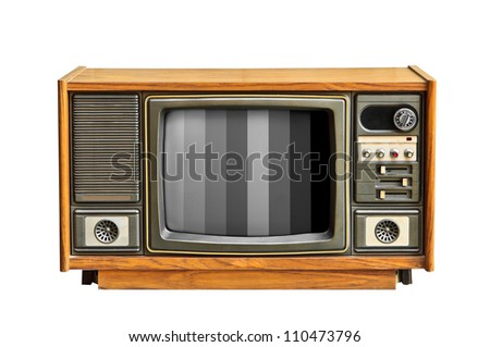 Black and white television. - stock photo