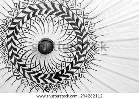 Black and white; Texture of umbrellas : Bo-sang umbrella handicraft made from paper of Chiang Mai, Thailand.  - stock photo