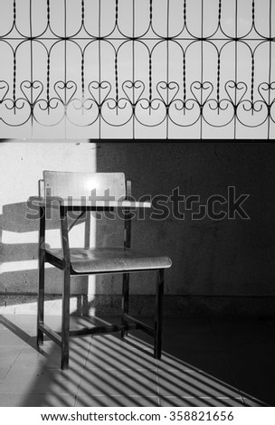 Black and white tone of chair