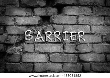 Black and white tone with crack of brick wall - stock photo