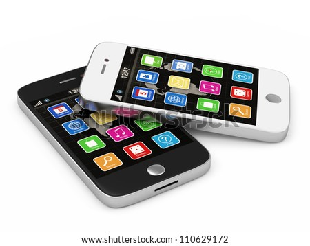 Black and White Touchscreen Smart Phones isolated on white background - stock photo