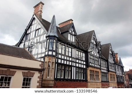 Black and white Tudor style buildings in Chester UK - stock photo