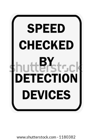 Black and white vertical speed checked by detection devices traffic sign - stock photo