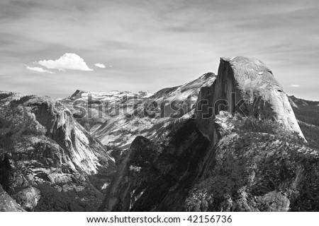 black and white view from glacier point, yosemite national park, - stock photo