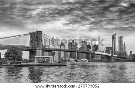 Black and white view of Brooklyn Bridge - NYC. - stock photo
