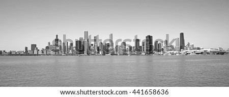 Black and white view of Chicago city from Michigan lake - stock photo