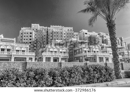 Black and white view of Dubai buildings, UAE.