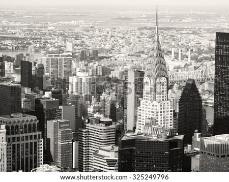 Black and white view of midtown Manhattan in New York City - stock photo