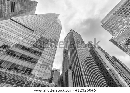 Black and white view of office buildings. Corporate concept.