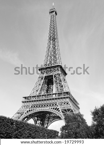 Black and white view of the Eiffel Tower, Paris, France