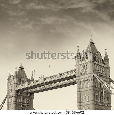 Black and white view of Tower Bridge at dusk, London - UK.