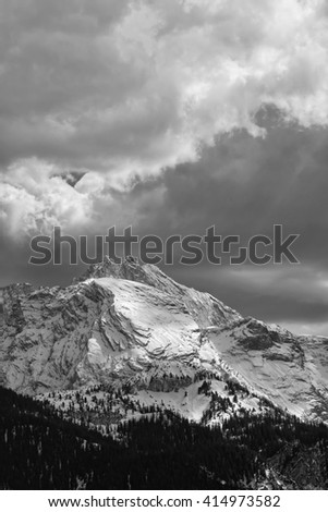 "Black and white, View to the snowy mountains called ""Wetterstein"" in Bavaria, Germany"