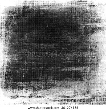 black and white wall paper texture grunge background old brush strokes frame - stock photo