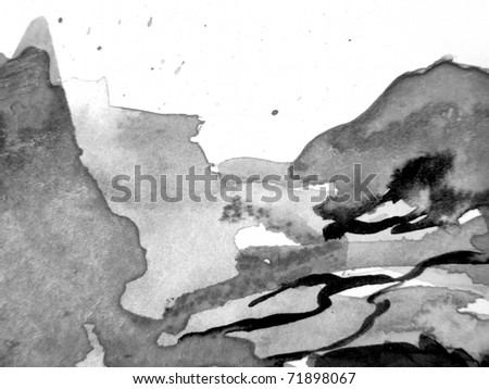 Black and White Watercolor Background 4 - stock photo