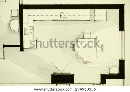 Black and white watercolor illustrative material, showing condo apartment flat partial floor plan, suitable for real estate property development and management within modern artistic inspiring trends - stock photo