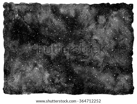Black and white watercolor night sky with stars. Monochrome cosmos background. Watercolour stains and tiny dots splash texture - snow or stars template. Rough, uneven edges. - stock photo