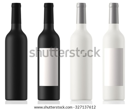 black and white wine bottles clean and with labels isolated on white background with reflection
