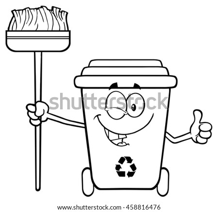 Black And White Winking Recycle Bin Cartoon Mascot Character Holding A Broom And Giving A Thumb Up. Raster Illustration Isolated On White Background - stock photo