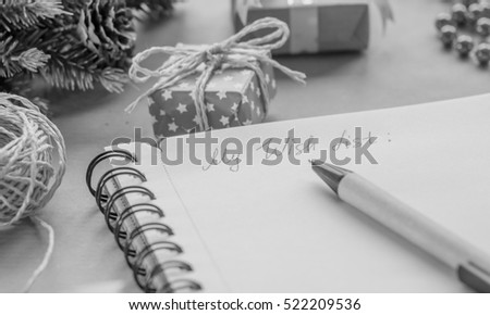 black and white wish list among presents
