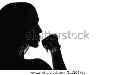 black and white woman face silhouette