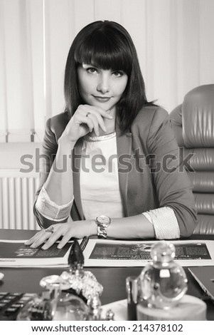 Black and white.Woman in a business suit. Business woman. Business, work, business woman - business concept girl. The idea about the woman's business. - stock photo