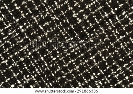 Black and white wool twill pattern. Woven design as background. - stock photo