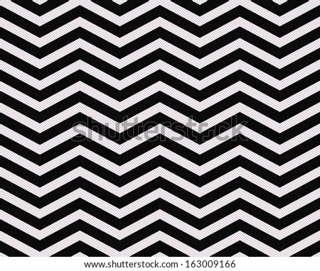 Black and White Zigzag Textured Fabric Background that is seamless and repeats - stock photo