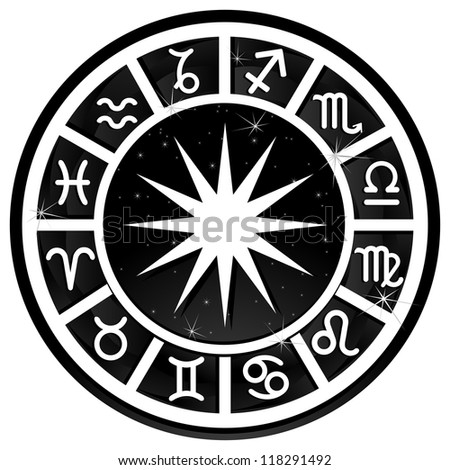 Black and white zodiacal circle with zodiac sign - stock photo