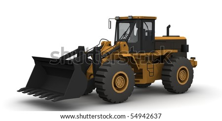 Black and yellow bulldozer isolated on white