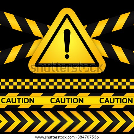 Black and yellow caution striped tapes with yellow hazard warning attention sign on black background.