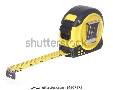 "Black and Yellow 3 1/2"" Retractable Tape Measure, Isolated on white ground"