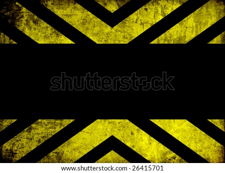 black and yellow warning background with grunge effect and space for text