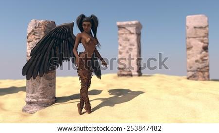 black angel near desert ruins - stock photo