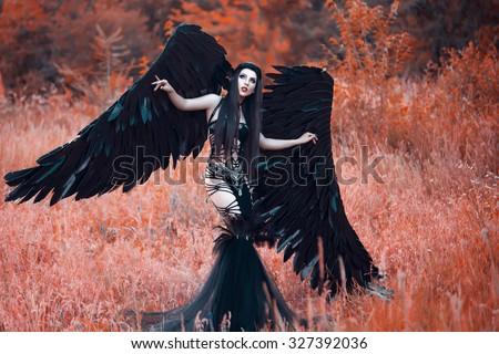 Black angelbeautiful sexy girldemon black wings stock photo 519457432 shutterstock - Hot demon women ...