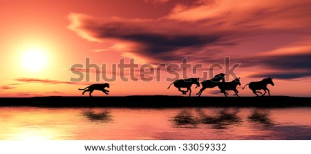 Black animal silhouettes by a river. - stock photo