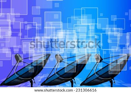 black antenna communication satellite dish on blue background - stock photo