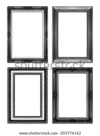 black antique  picture frames. Isolated on white background
