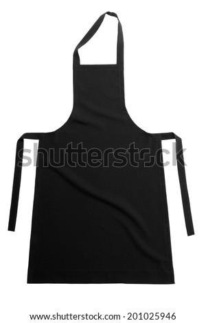 Black apron isolated on white background - stock photo