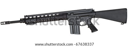 Black assault rifle with a high capacity magazine isolated on white - stock photo