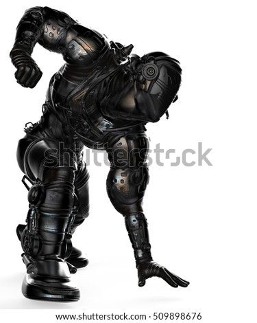 black astronaut attack side view 3d illustration
