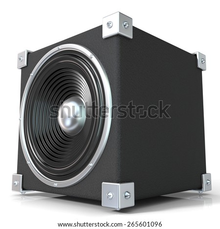 Black audio speaker. 3D render illustration isolated on white background. Side view. - stock photo