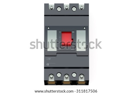 Black automatic circuit breaker isolated on white background - stock photo