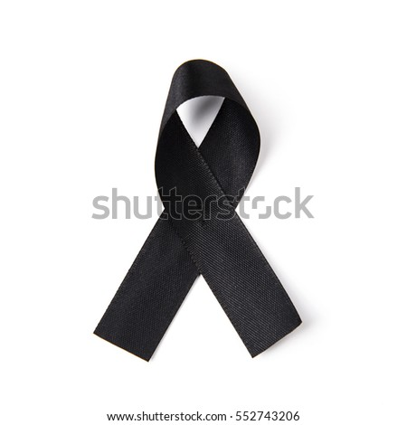Black awareness ribbon on white background